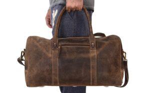 KomalC Leather Travel Duffel Bags