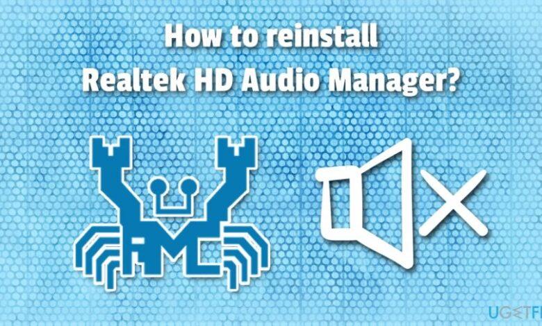 Reinstall Realtek HD Audio Manager Windows 10